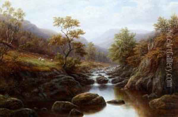 'on The Wharfe, Yorkshire', And 'autumn On The Lledr, North Wales' Oil Painting - William Mellor