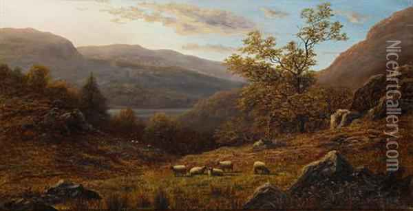 Peep Of Ulswater From The Hills, Westmorland Oil Painting - William Mellor