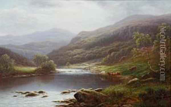 On The Hebden; On The Lleder Oil Painting - William Mellor