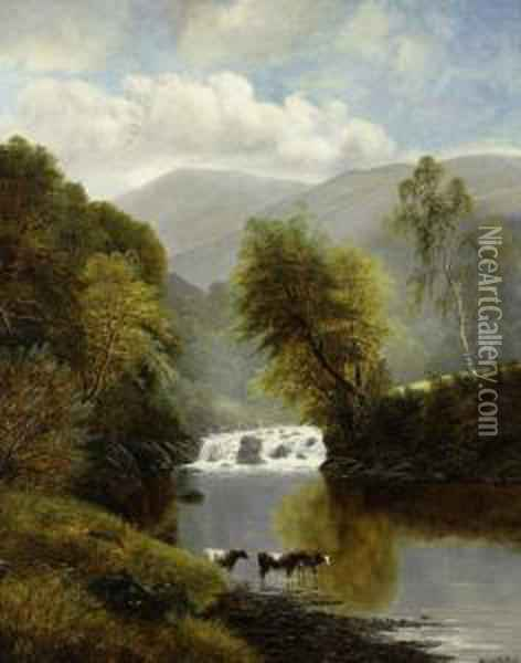 Mountainous Landscape With Cattle And A Waterfall Oil Painting - William Mellor