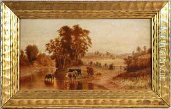Cows In A Country Landscape Oil Painting - Robert S. Merrill