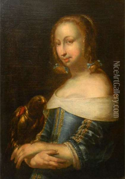 Lady With A Parrot Oil Painting - Gabriel Metsu