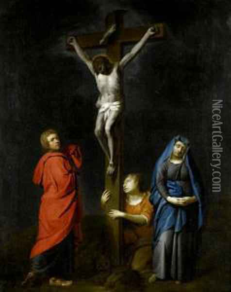 The Crucifixion With The Virgin, Saints Mary Magdalen And John The Baptist Oil Painting - Gabriel Metsu