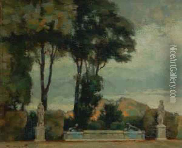 Scorcio Di Parco Con Fontana Oil Painting - Victor Mignot