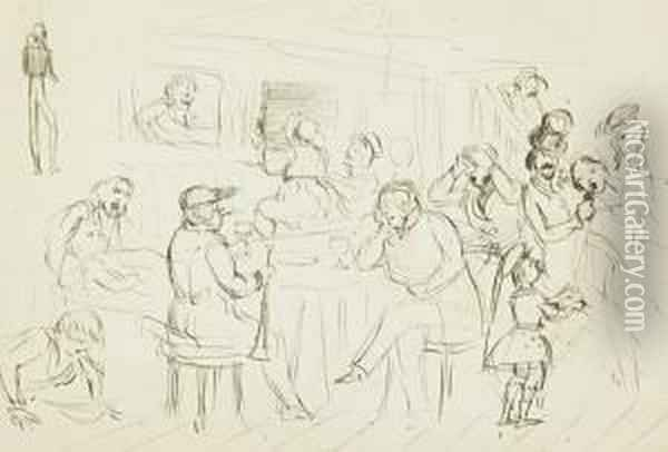 Sketch Of The Lempriere Family Oil Painting - Sir John Everett Millais