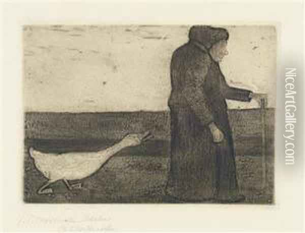 Woman With Goose Oil Painting - Paula Modersohn-Becker