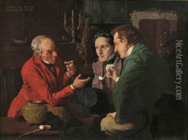 The Discourse Oil Painting - Louis Charles Moeller