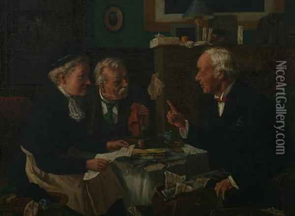 At The Lawyer's Office Oil Painting - Louis Charles Moeller