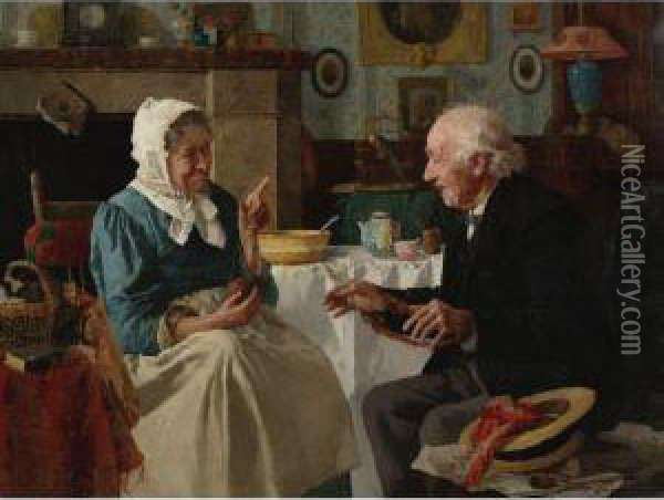 Spinning Yarns Oil Painting - Louis Charles Moeller