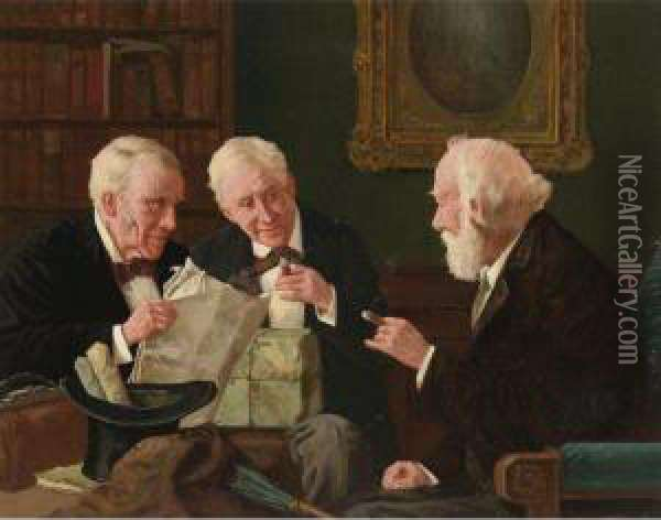 Good Financial News Oil Painting - Louis Charles Moeller