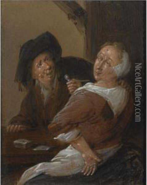 An Amourous Couple Playing Cards In An Inn Oil Painting - Jan Miense Molenaer