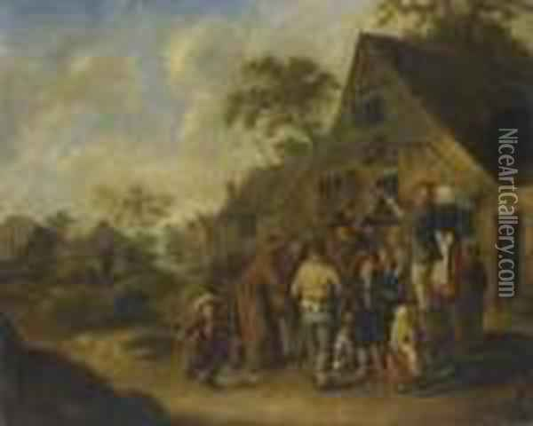 A Village Street With Villagers Gathered Around Two Figures Proclaiming The News On Barrels Outside An Inn Oil Painting - Jan Miense Molenaer
