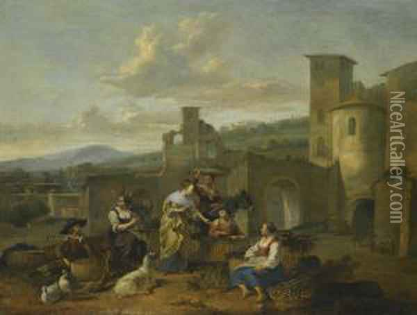 An Italianate Landscape With Vegetable Sellers Oil Painting - Hendrick Mommers