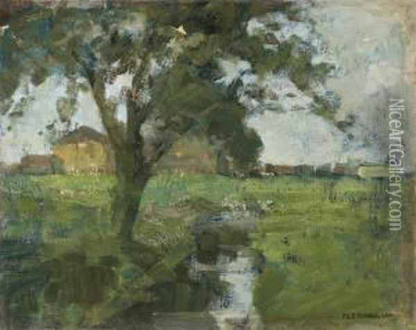 Farm Setting With Foreground Tree And Irrigation Ditch Oil Painting - Piet Mondrian