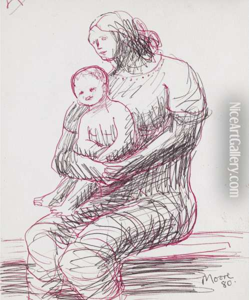 Mother And Child: Three Quarter To Left - Recto Oil Painting - Henry Moore