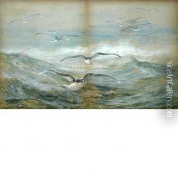 Gulls In The Surf Oil Painting - Edward Moran