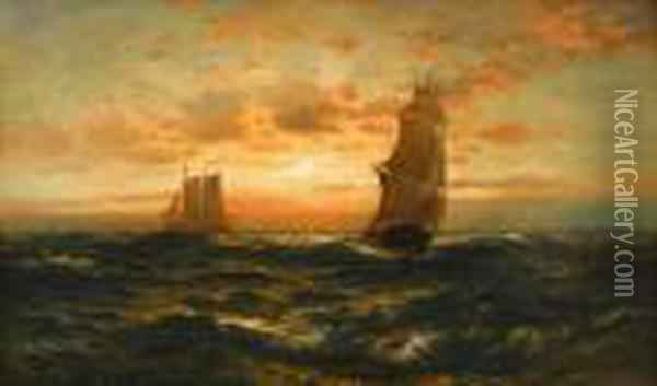 Square Rigger At Sea Oil Painting - Edward Moran