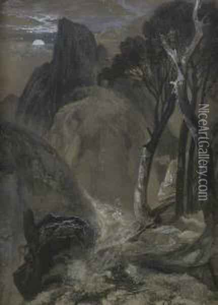 Half-moon Yosemite Oil Painting - Thomas Moran