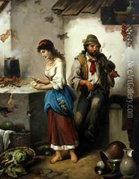 Maid And Pedlar Before A House Together Oil Painting - F. Morelli