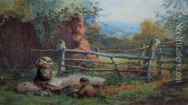 The Primrose Pickers Oil Painting - Charles Greville Morris