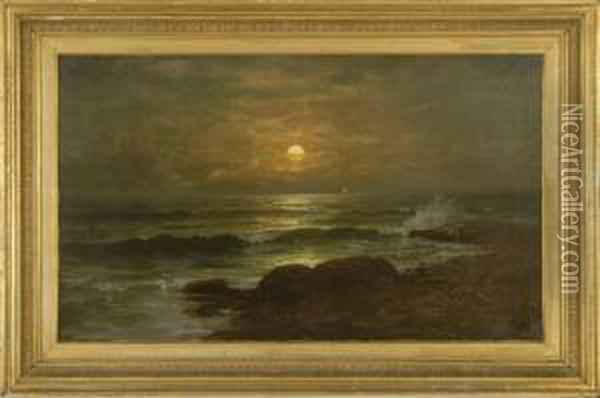 Sunset Seascape With Rocky Shore And Distant Boats Oil Painting - Jonathan Bradley Morse