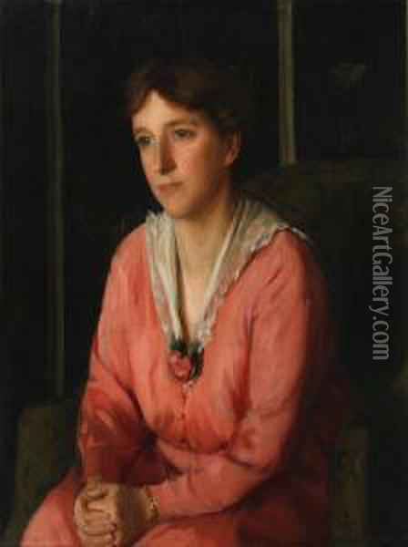 Portrait Of A Young Woman, Seated, Wearing Acoral Coloured Dress Oil Painting - Felix Stone Moscheles