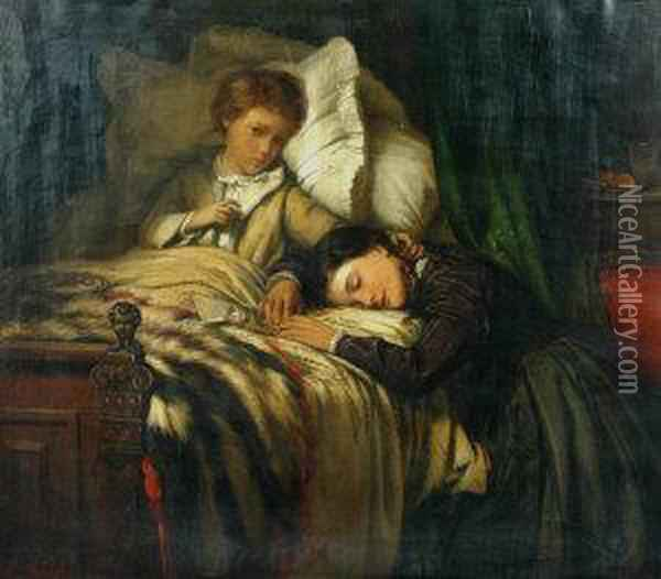 Convalescence Oil Painting - Felix Stone Moscheles