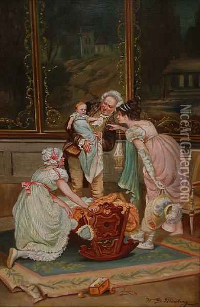 Greeting The New Baby Oil Painting - Henry Siddons Mowbray
