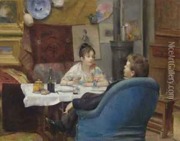 Studio Lunch Oil Painting - Henry Siddons Mowbray