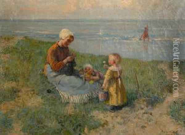 Family Outing At The Shore Oil Painting - Carl Eugene Mulertt