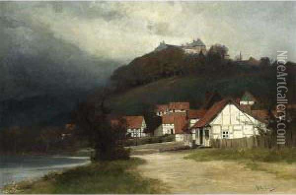 Red Roofed White Houses In A Mountainous Landscape. Oil Painting - Georg Bernhard Muller Vom Siel