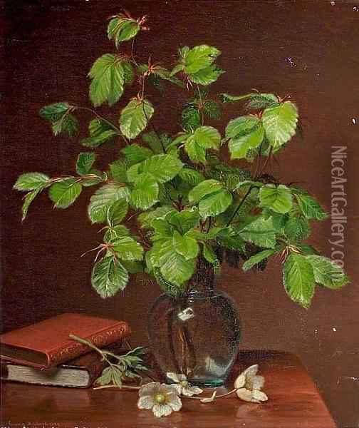 Still Life With Beech Branches In A Vase And Books. Signed Emma Mulvad 1886 Oil Painting - Emma Mulvad