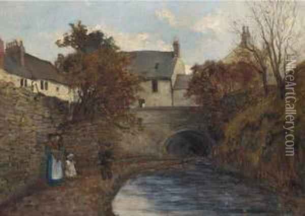 A Stroll By The Canal Oil Painting - Eben H. Murray