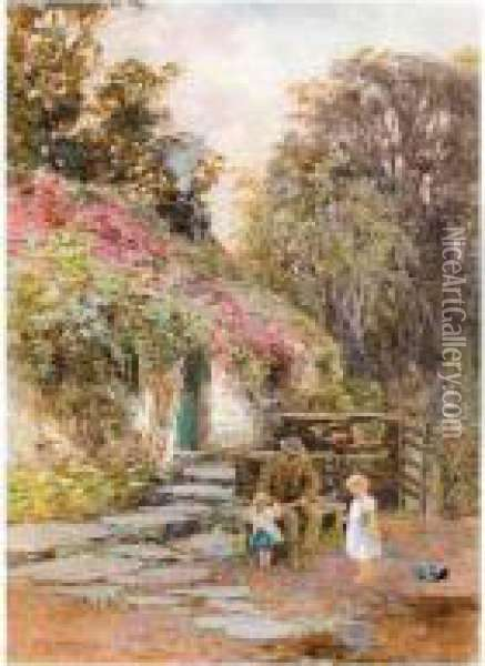 A Visit To Grandpa's Oil Painting - Isabel Oakley Naftel