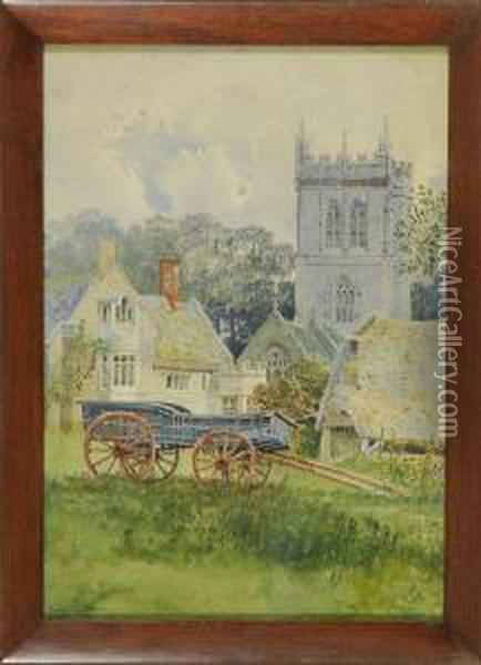 Landscape With Church And Cart Oil Painting - George Nattress