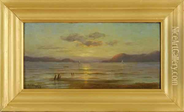 Sunset Over San Francisco Harbor Oil Painting - Kate W. Newhall