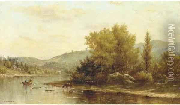 A River Landscape With Figures In A Boat And Cattle Watering Oil Painting - Kate W. Newhall