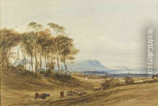 A View Of Belfast And Cave Hill From Knockbreda Church Oil Painting - Andrew Nicholl