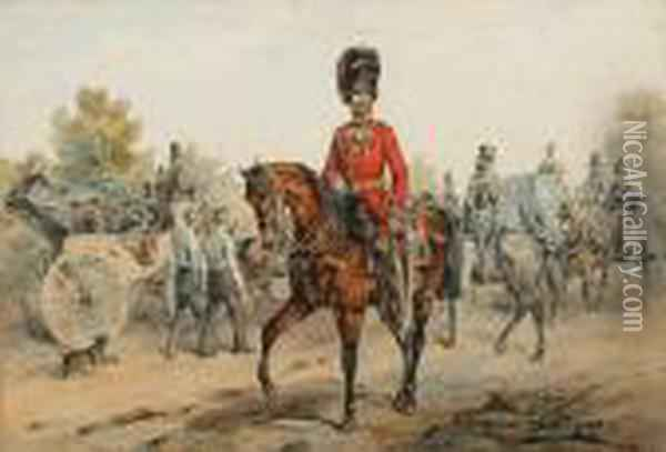 Officer Of The Coldstream Guards Oil Painting - Orlando Norie