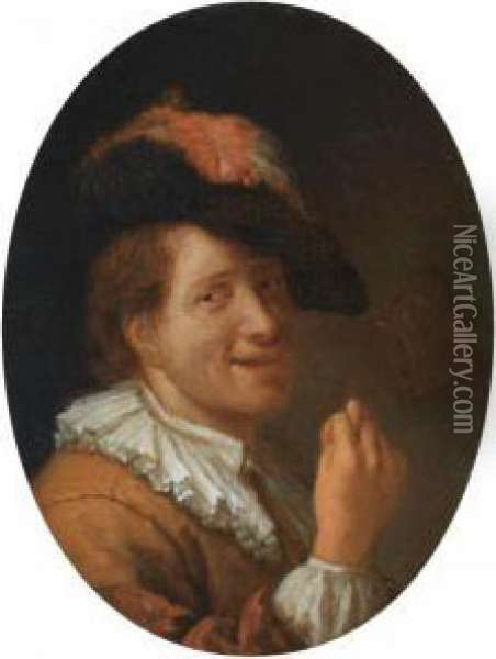 A Man With A Feathered Head, Making An Obscene Gesture Oil Painting - Jacob Ochtervelt