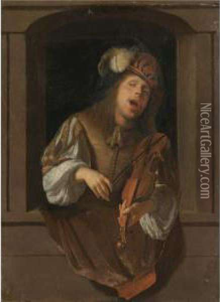 A Singing Violinist, Probably A Self-portrait, Set Within A Niche Oil Painting - Jacob Ochtervelt
