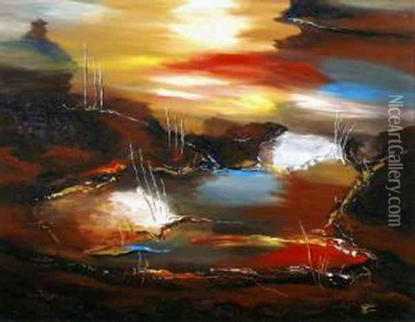 Composition Abstraite 187 Oil Painting - Michel-Barthelemy Ollivier