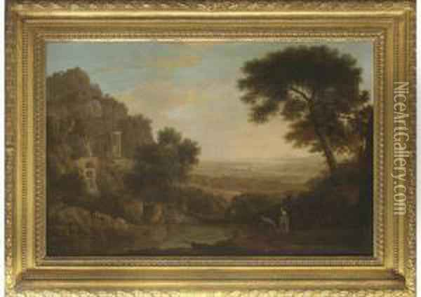 Figures Fishing Beside A Pool In An Extensive Classical Landscape, With Ruins Beyond Oil Painting - Edward Oram