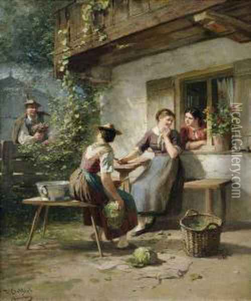 A Country Woman Dumbfounded By A Cavalier With Flowers. Oil Painting - Friedrich Ortlieb