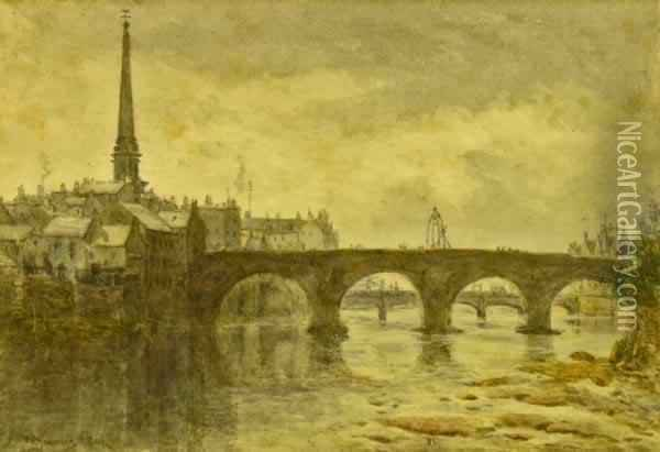 The Auld Brig, Ayr Oil Painting - William Young Ottley