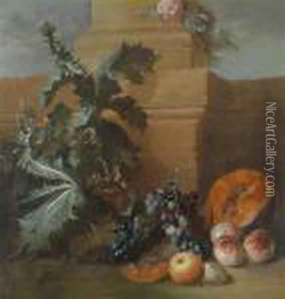 Still Life With A Flowering Thistle And Fruit Oil Painting - Jean-Baptiste Oudry
