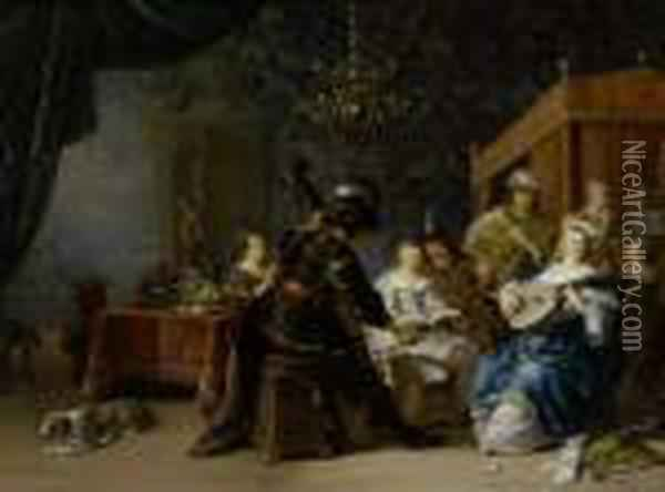 Festive Company Playing Music Oil Painting - Antonie Palamedesz
