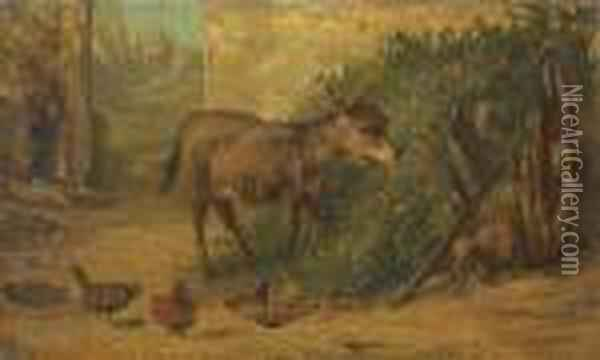A Donkey And Chickens In A Farmyard Oil Painting - Filippo Palizzi