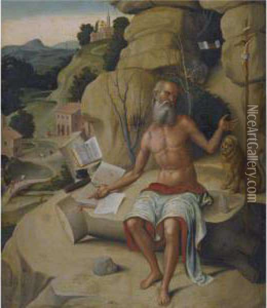 Saint Jerome, Seated On A Rock Before An Extensive Landscape Oil Painting - Marco Palmezzano