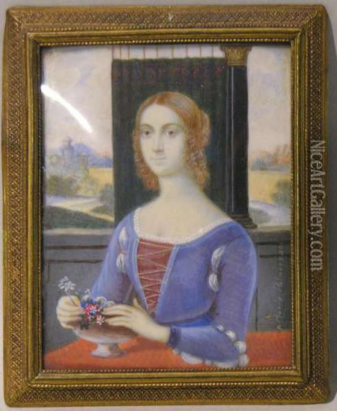 Portrait Miniature Oil Painting - Marco Palmezzano